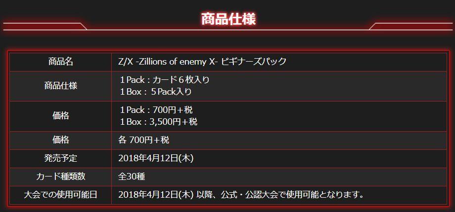 ゼクス【ビギナーズパック】公式商品仕様