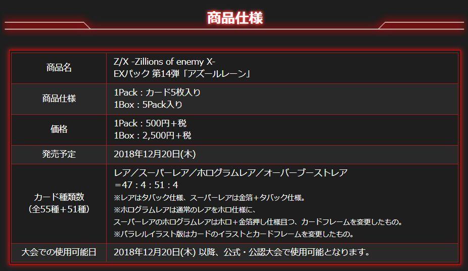 ゼクス「EXパック14弾 アズールレーン」のレアリティごとの封入枚数情報(商品仕様)