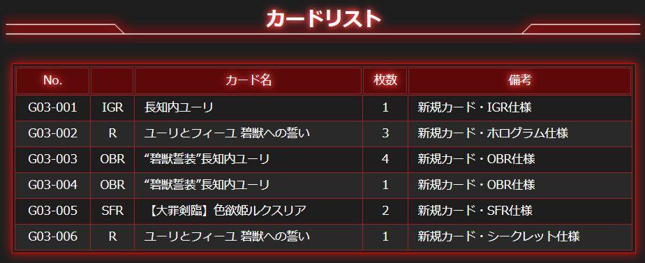 Z/Xカードガチャ「長知内ユーリ♥コンプリートセット」カードリスト