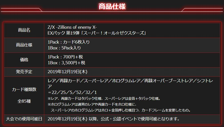 ゼクスEXパック19弾【スーパー!オール☆ゼクスターズ】のレアリティごとの収録枚数