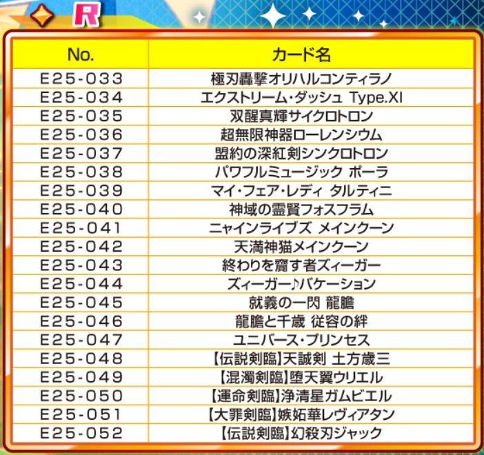 R(レア)枠での再録リスト(EX25弾「ミラクル!オール☆ゼクスターズ」再録)